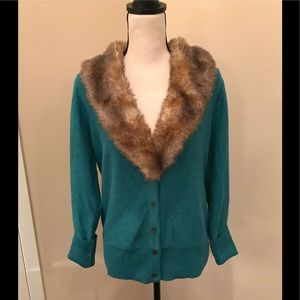 CAbi Tearoom Cardigan Fur Collar Teal #3018 Large